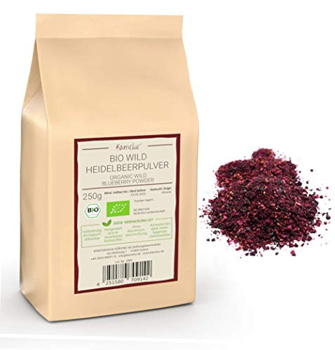 250g BIO Wild-Heidelbeerpulver – Blaubeeren Frucht Pulver aus wilden Heidelbeeren gefriergetrocknet - wild blueberry powder in biologisch abbaubarer Verpackung