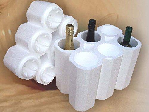 Embalaje protector de poliestireno universal para 6 botellas (paquetes de 30 unidades).