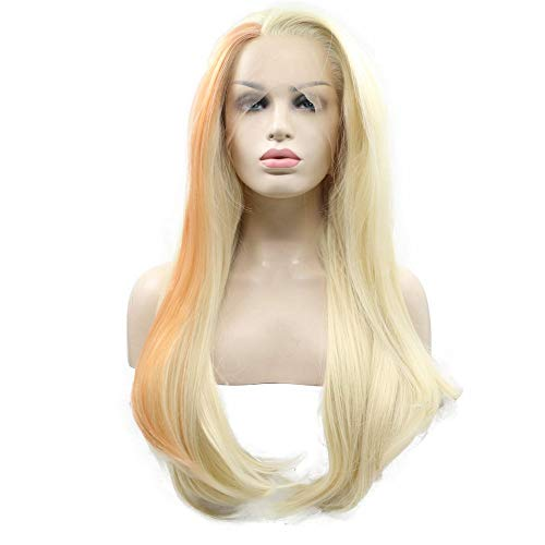 XINGYU Highlight Color Mermaid Synthetic Wig for Women Pastel Blonde Blend Orange High Temperature Lace Front Wigs Cosplay/Party Natural Look Hairline 2 Color Half Hand Tied Swiss Swiss