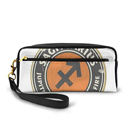 Pencil Case Pen Bag Pouch Stationary,Zodiac Themed Logo Design Jupiter and Fire Grunge Image,Small Makeup Bag Coin Purse
