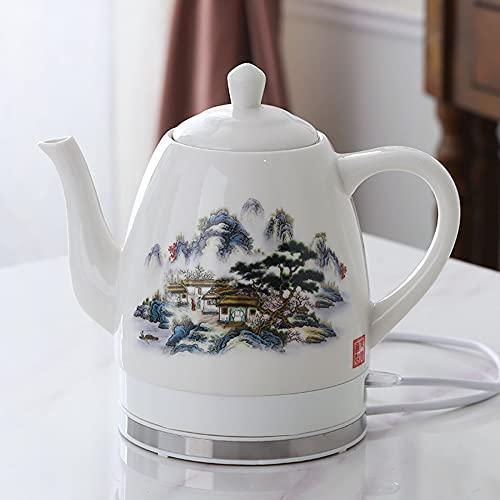 Cerámica eléctrica Kettl Porcelana 1350W,1.8L Hervidor de espuma de porcelana Tetera diaria Kungfu tetera de cerámica hervidor eléctrico, té rápido de cerveza, sopa de café/D