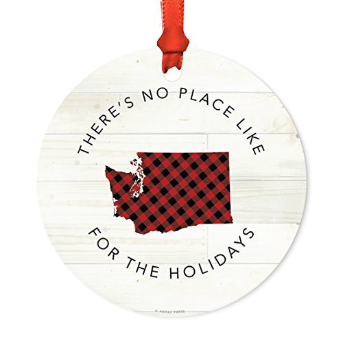 Andaz Press US State Round Metal Christmas Ornament, Lumberjack Buffalo Red Plaid on Light Rustic Wood, Washington, 1-Pack, Includes Ribbon and Gift Bag