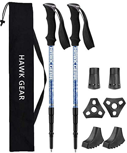 HAWK GEAR(ホークギア) 超軽量アルミ トレッキングポール 2本セット アンチショック機能付 (Newメタルブルー)