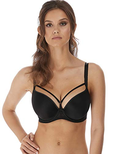 Freya Women's Awakening Moulded Plunge Deco Underwire T-Shirt Bra, Black, 28GG