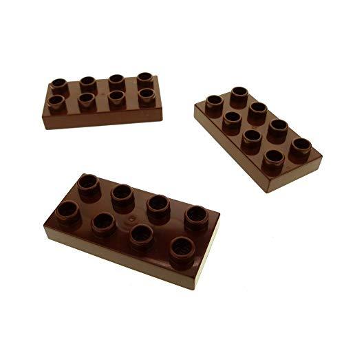 3 x Lego Duplo Bau Basic Platte reddish rot braun 2x4 Stein für Set 4785 4864 6785 3292 3296 4777 40666