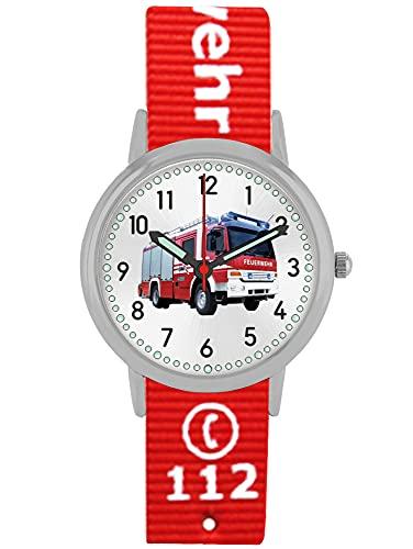 Pacific Time Kinder Armbanduhr Feuerwehr Jungen Wechselarmband rot Analog Quarz 87422