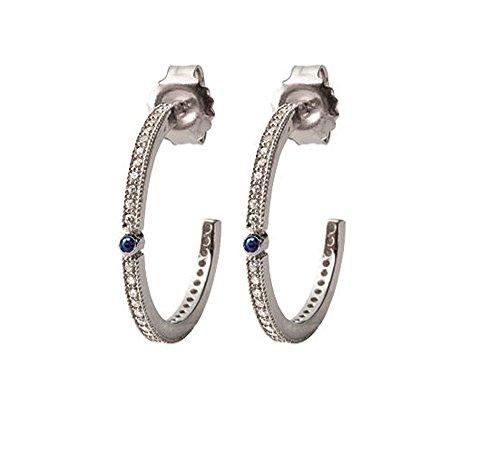 Ohrstecker Sterling Silber 925/000, Zirkonoxid, synthetische, WB, Herren-Ring, Edelstahl mit Strasssteinen, glänzend weiß und blau-Schmuck Damen
