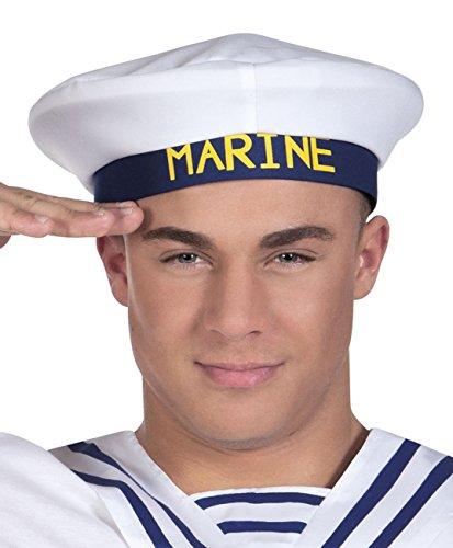 Boland 44368 - Mütze Marine für Erwachsene, weiß/blau, Größe 57-61, Kapitän, Matrose, Seefahrer, Seemann, Kopfbedeckung, Accessoire, Motto Party, Karneval