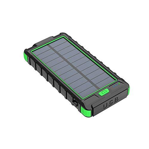 Banco de energía solar, cargador solar, 20000 mAh, energía móvil, carga rápida USB, cargador portátil inalámbrico, salidas USB para iPhone, iPad, Android, tabletas y más (verde)
