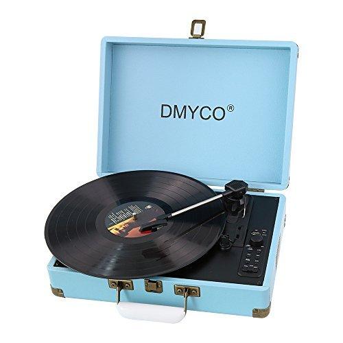 DMYCO Tocadiscos Vintage Tocadiscos Estéreo Tocadiscos Vinilo 3 33/45/78 Velocidades con Altavoces Incorporados, Graba de Vinilo a MP3, Carcasa Protectora, Azul