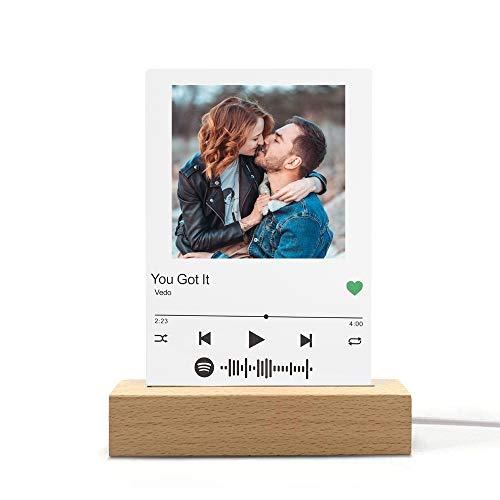 Personalisierte Spotify Music Code 3D Nachtlicht mit Foto & Musik Name & Künstlername, LED Spotify Acryl Music Board Lampe Fotoalbum Cover Album Licht, Personalisierte kreative Geschenke