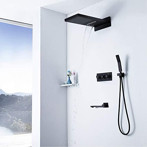 Conjunto de grifo de ducha negro con bañera de bañera - Escaro de alta presión que aumenta el cabezal de ducha fijado - mezclador de lluvia Sistema de ducha oculto Lluvia de lluvia Combo (válvula y sp