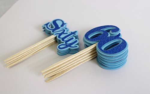 All About Details Blue Sixty Cupcake Toppers, Set of 12