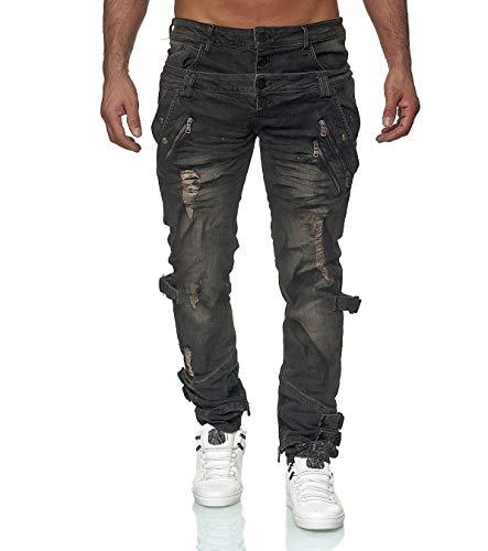 KINGZ Designer Jeans 1497-1 Schwarz Schwarz 32