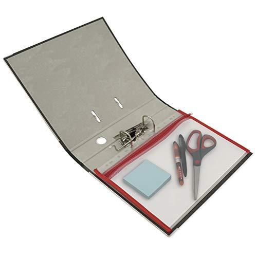 TimeTEX Reißverschluss-Tasche A4 rot zum Abheften - mit eingenähter Einfassung und Reißverschluss - 64327