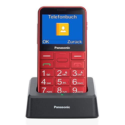 """Panasonic KX-TU155 - Teléfono móvil SIM para personas mayores, pantalla de 2.4"""", memoria hasta 32 GB, botón de emergencia, con base de carga, color rojo"""