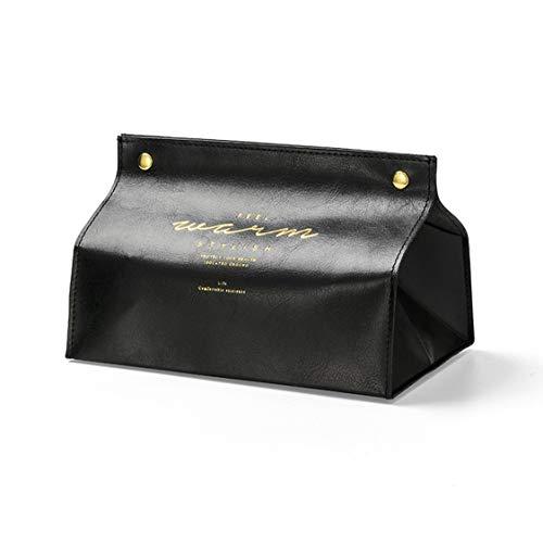 VIGE Leder Tissue Box Papier Box Wohnzimmer Home Kreative Tissue Papiertüte Papiertüte Auto Couchtisch Papier Box - Schwarz -