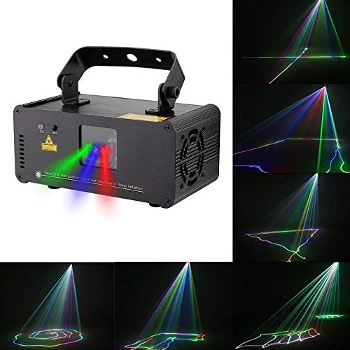 DJXITER 3D Effekt RGBYP Vollfarb Party Beam Licht, Disco Magic Lampe, Sound Aktiviert Automatische Disco KTV Bar Pub Club Home House KTV (Farbe : Rgb Beam)
