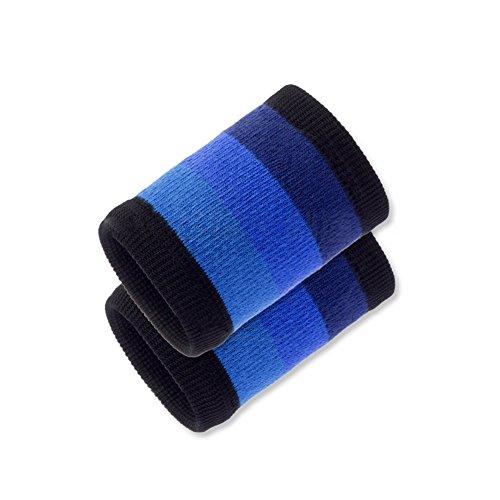 Hosaire 2pcs Protège-Poignet de Coton Doux Bracelet éponge Bandeau pour Basket-Ball/Tennis/Gymnastique/Sport Jogging Gym Correspondance des Couleurs -Bleu