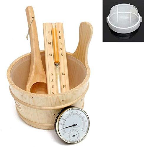 HTYG 5-stück Sauna Set- Saunaeimer-Holz Barrel Löffel Sanduhr Thermometer Licht-Sauna Set gemacht aus natürlichen Holz-Ätherisches Spa Zubehör Für Sauna
