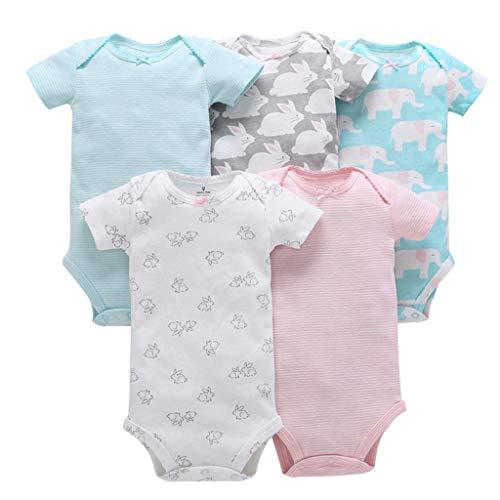 Vine 5 Pezzi Body Neonati a Manica Corta Pagliaccetto Pigiami di Cotone Neonato Tutina Set Regalo per Bambini, 6-9 Mesi