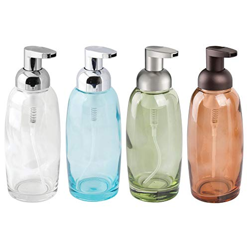 mDesign Modern Glass Refillable Foaming Soap Dispenser Pump Bottle for Bathroom Vanities or Kitchen Sink, Countertops - 4 Pack, Assorted Colors