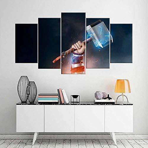VKEXVDR 5 Piezas Modernos Mural Papel de Thor Movie Cuadro en Lienzo,impresión artística,único,Pasillo Decor Pared Cuadro Carteles Innovador