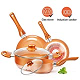 Cookware-Set Nonstick Pots and Pans-Set Copper Pan - KUTIME 6pcs Cookware Set Non-stick Frying Pan Ceramic Coating Stockpot, Cooking Pot, Copper Aluminum Pan with Lid, Gas Induction Compatible