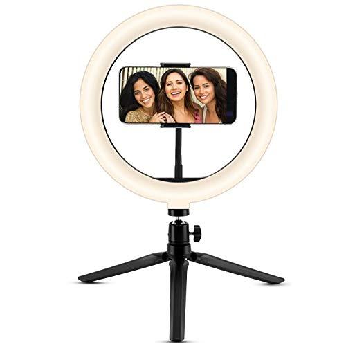 Anillo de selfie de 10 pulgadas con soporte de trípode y soporte para teléfono, obturador remoto Bluetooth para transmisión en directo/YouTube Video/TikTok/Maquillaje Disparo con 3 modos de luz, compatible con iPhone/Android