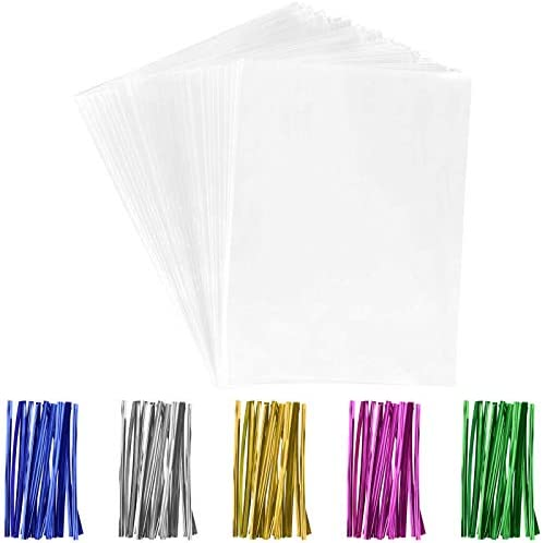 Tecbeauty 200 Pcs 5x7 Cellophane Treat Candy Bags Clear Gift Wrapper with Twist Ties Plastic product image