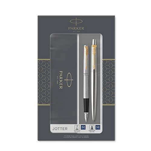 Parker Jotter set de regalo doble con bolígrafo y pluma estilográfica, acero inoxidable con adorno dorado, cartuchos y recambio de tinta azul, estuche de regalo