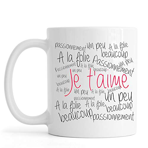 Mug Je t'aime Un Peu, Beaucoup, idée Cadeau Original Saint-Valentin, mug Amour,