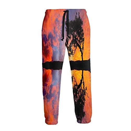 Sunset Tree Water Reflection - Pantalones deportivos con cordón para hombre