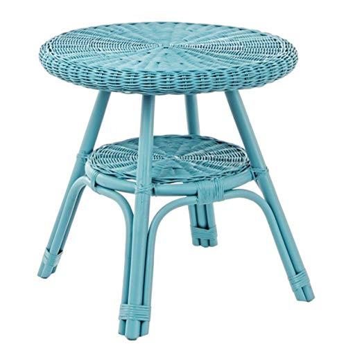 PEGANE Table Basse en rotin Coloris Bleu - Dim : Ø 52 x H 52 cm