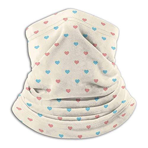 Wild-Rose Schal Geometrisch Für Laufen,Skifahren,Snowboarden Liebesschmuck Inspiriert Valentinstag Vintage Little Pale Tone Hearts Creme Coral Pale Blue