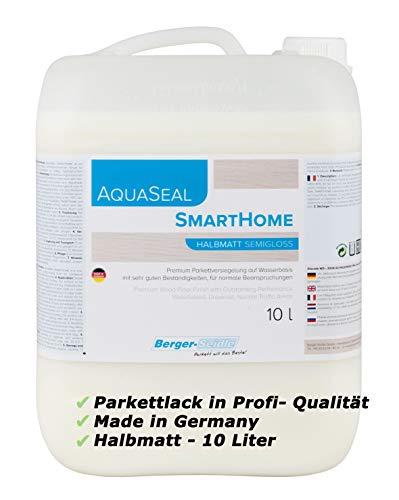 Berger-Seidle Profi Parkettlack   Aqua Seal Smarthome   10 L, 1K Wasserlack Parkett   Holzboden, halbmatt   umweltschonend   Fussbodenlack auf Wasserbasis, Made in Germany