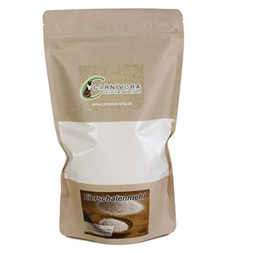 Carnivora Eierschalenmehl (grob) 500g - Eierschalenpulver grob Barf Alternative zum Knochenmehl - 100% natürliches Pulver aus Eierschalen (granuliert) - ideal als Ergänzung zum Barfen (als Zusatz)