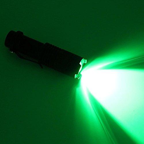 Vert/noir : mini lampe torche LED portable avec zoom, lumière blanche/rouge/verte, lampe de poche avec 1 pile AA/14500