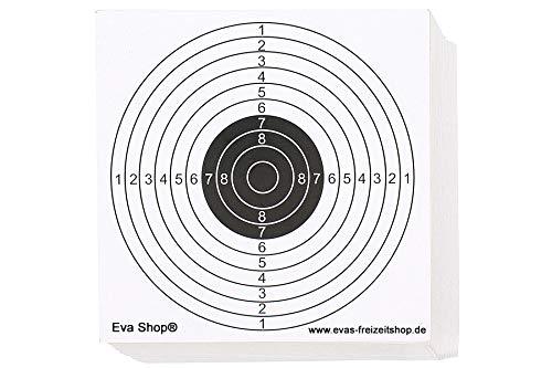 Eva Shop® Premium Zielscheiben 14x14cm - 100er Pack - Luftgewehrscheiben, Zielscheibe für Luftgewehr, Softair und Luftpistole 100 Stück