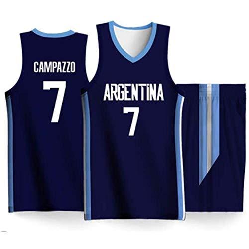 Copa del Mundo Masculina República Argentina Equipo de Baloncesto 7# Facundo Campazzo Azul Casual Camiseta Deportiva Shorts de Manga Corta Chaleco-M