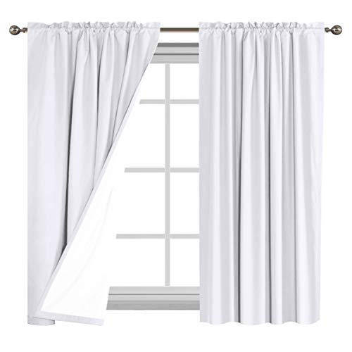 White Waterproof Curtains for Bedroom/Living Room 100% Blackout Drapes 63 inch Long, Insulated Rod Pocket Blackout Curtains 2 Tie-Backs, 2 Panels