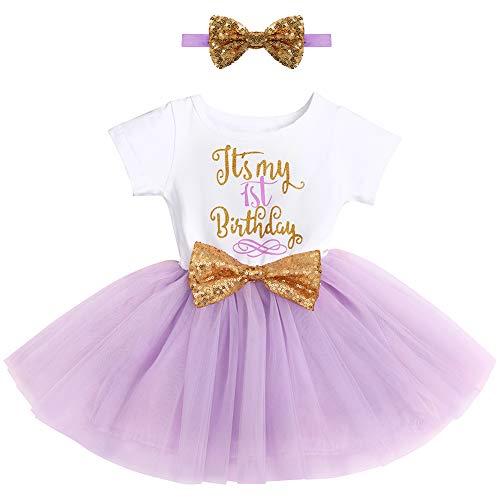 FYMNSI Vestido de fiesta cumpleaños para bebé con tutú manga corta y princesa, lazo lentejuelas, cinta la frente, sesiones fotos, juego ropa Color morado verde. 12 meses