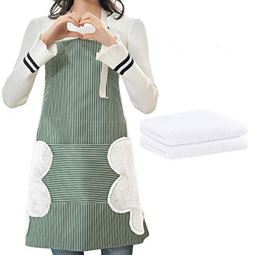 Adjustable bib apron suitable for women#039s waterproof kitchen apron pocket and two side towels plus two dishcloths green