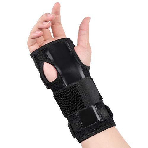 Handgelenkschiene Karpaltunnelsyndrom, Handgelenkbandage Sehnenscheidenentzündung Schiene Handgelenkschoner Leder Handgelenkschoner mit abnehmbarer Schiene Stabilisator & Daumen für Schmerzlinderung