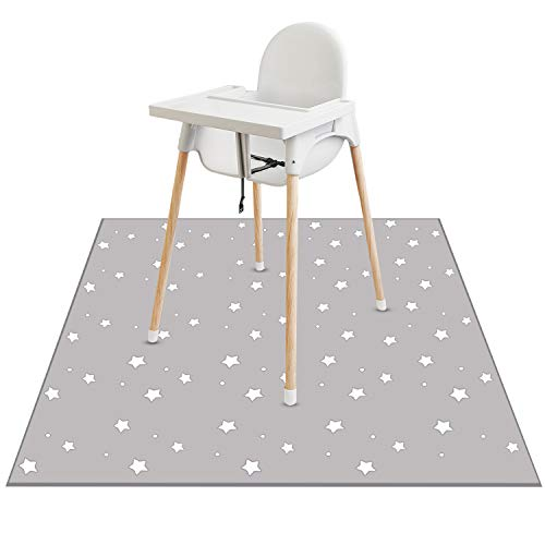 Lookka Highchair Splash Mat, 43 * 43 Inch Large Waterproof Non-Slip Baby Splat Mat Weaning Pet Spill Mat, Washable Mess Mat for Art Craft Painting and Table Cloth(Star)