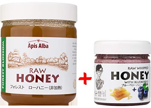 【Amazon.co.jp限定】 はちみつ 蜂蜜 ハチミツ 生 2個組 セット (ブルーベリーハニー200g、フォレストハニー624g) Raw Honey Set Blueberry 200g & Forest Raw Honey 624g