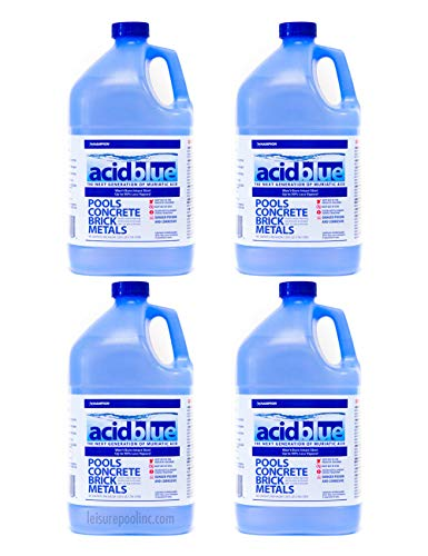Acid Blue Muriatic Acid - Swimming Pool pH Reducer Balancer | Buffered, Low-Fume - Case (4 Gallons)