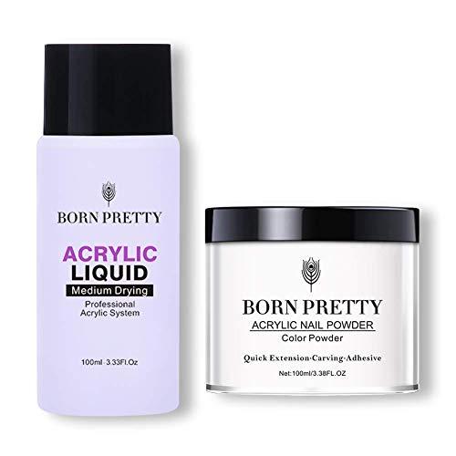 BORN PRETTY Acrylic Nail Powder 100g Tip Extension French Nail Polymer Powder Nail Art 3.4 oz for DIY,No Need UV/LED Lamp (Clear)