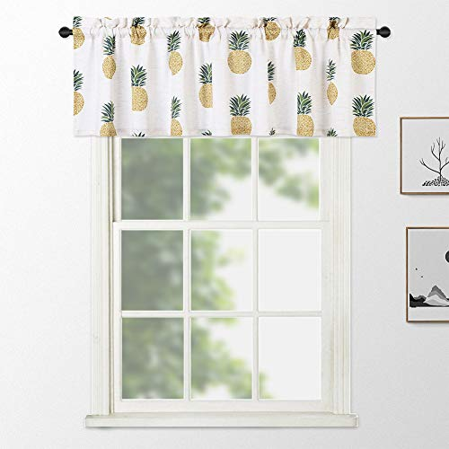 """NANAN Linen Valance Curtains,Pineapple Printed Window Valance Living Room Drapes,Rod Pocket Tailored Kitchen Curtain Cafe Curtains(54"""" x 15"""", Green YellowPineapple, One Panel)"""
