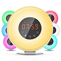 Dr.meter Sunrise Alarm Clock - Digital LED Night Light Clock with 7 Color Switch and FM Radio for Bedrooms - 6 Nature Sounds Sunset Sunrise Simulation & Touch Control - with Snooze Function
